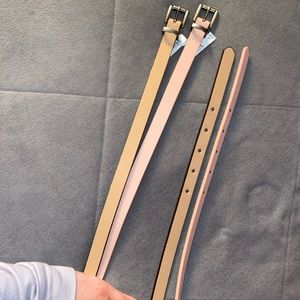 Light pink and tan belts